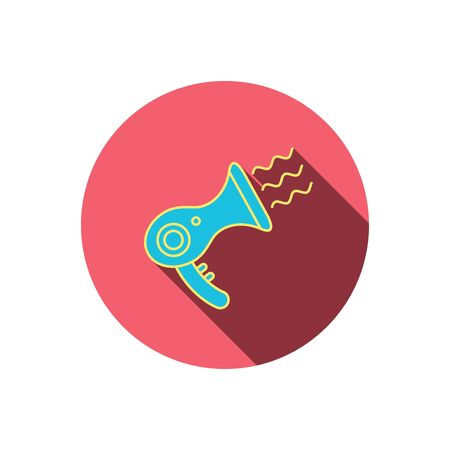 air diffuser: Hairdryer icon. Electronic blowdryer sign. Hairdresser equipment symbol. Red flat circle button. Linear icon with shadow.  Illustration