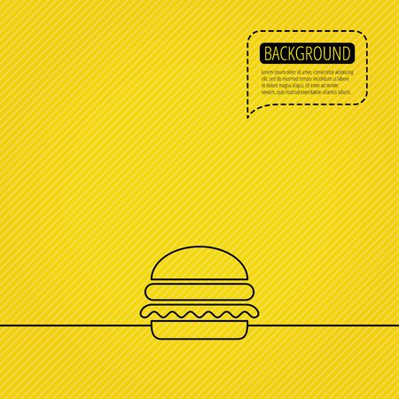 cheese burger: Hamburger icon. Fast food sign. Burger symbol. Speech bubble of dotted line. Orange background.  Illustration