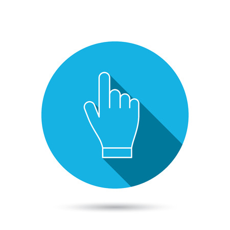click hand: Click hand icon. Press or push pointer sign. Blue flat circle button with shadow.  Illustration