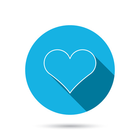 february 1: Heart icon. Love sign. Life symbol. Blue flat circle button with shadow.  Illustration