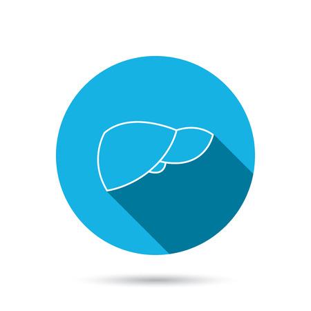 liver failure: Liver icon. Transplantation organ sign. Medical hepathology symbol. Blue flat circle button with shadow.  Illustration
