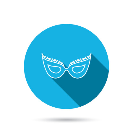 anonymous: Festive mask icon. Masquerade carnival sign. Anonymous symbol. Blue flat circle button with shadow.
