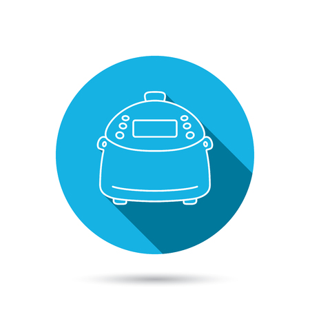 kitchen device: Multicooker icon. Kitchen electric device symbol. Blue flat circle button with shadow.