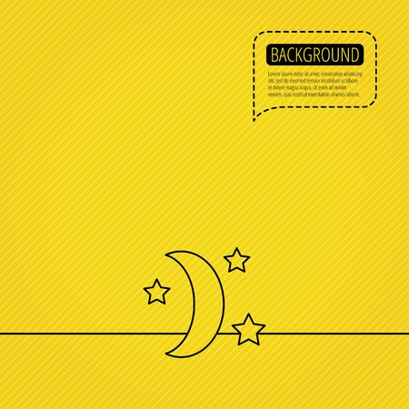 moonbeam: Night or sleep icon. Moon and stars sign. Crescent astronomy symbol. Speech bubble of dotted line. Orange background.  Illustration