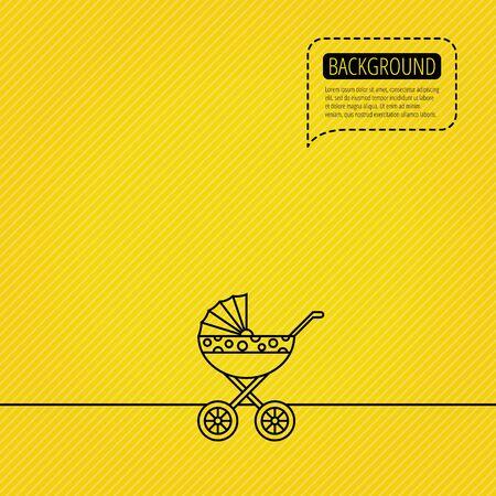 buggy: Pram icon. Newborn stroller sign. Child buggy transportation symbol. Speech bubble of dotted line. Orange background.  Illustration