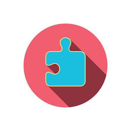 logical: Puzzle icon. Jigsaw logical game sign. Boardgame piece symbol. Red flat circle button. Linear icon with shadow.  Illustration