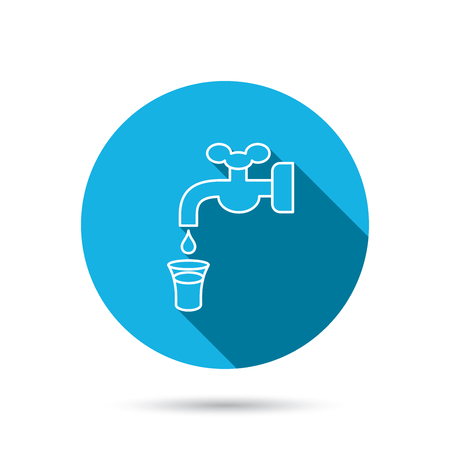 waterworks: Save water icon. Crane or Faucet with drop sign. Blue flat circle button with shadow.