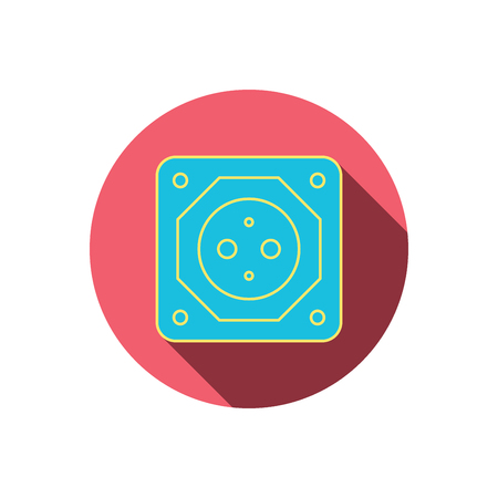 adapter: European socket icon. Electricity power adapter sign. Red flat circle button. Linear icon with shadow.  Illustration