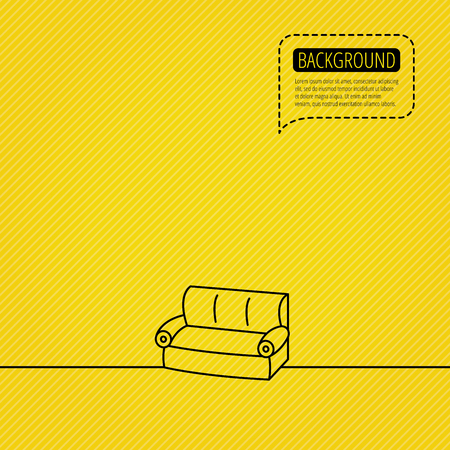 comfortable: Sofa icon. Comfortable couch sign. Furniture symbol. Speech bubble of dotted line. Orange background.