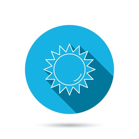 hot weather: Sun rays icon. Summer sign. Hot weather symbol. Blue flat circle button with shadow.