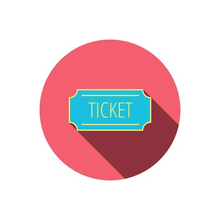 coupon sign: Ticket icon. Coupon sign. Red flat circle button. Linear icon with shadow.