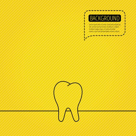 dental pulp: Tooth icon. Stomatology sign. Dental care symbol. Speech bubble of dotted line. Orange background.
