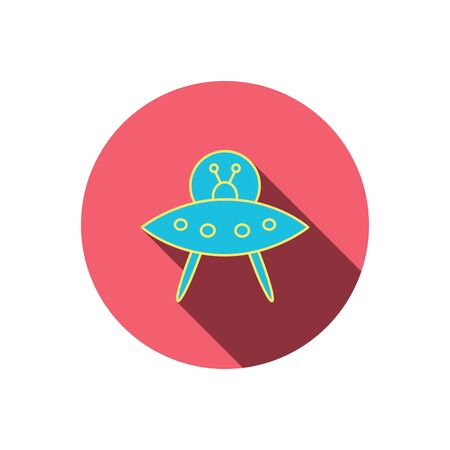 flying object: UFO icon. Unknown flying object sign. Martians symbol. Red flat circle button. Linear icon with shadow.