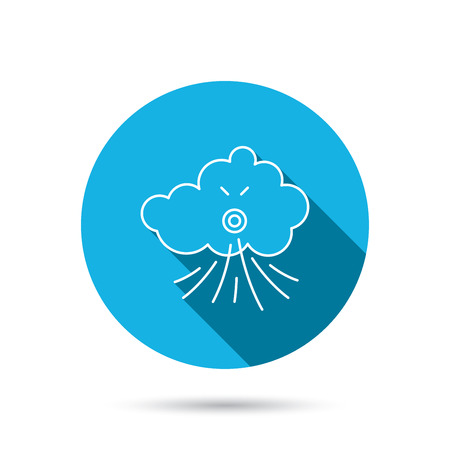 the tempest: Wind icon. Cloud with storm sign. Strong wind or tempest symbol. Blue flat circle button with shadow.  Illustration