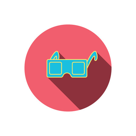 freetime: 3D glasses icon. Cinema technology sign. Vision effect symbol. Red flat circle button. Linear icon with shadow.  Illustration