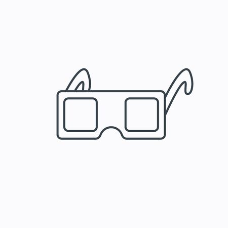 freetime: 3D glasses icon. Cinema technology sign. Vision effect symbol. Linear outline icon on white background. Vector