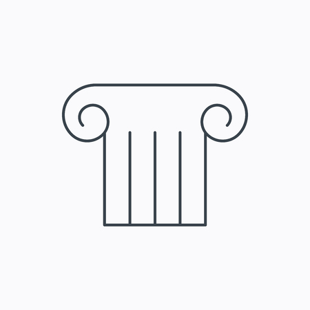 roman pillar: Antique column icon. Ancient museum sign. Architectural pillar symbol. Linear outline icon on white background. Vector