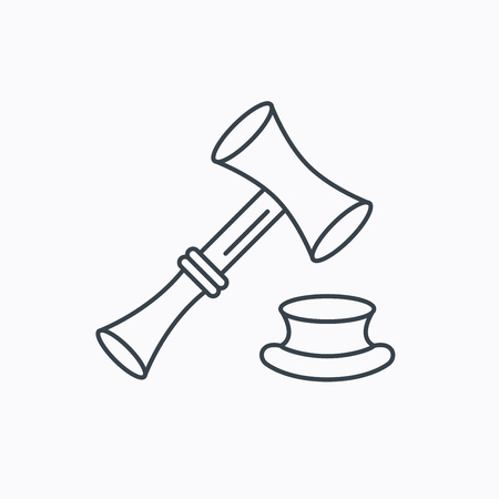 auctioneer: Auction hammer icon. Justice and law sign. Linear outline icon on white background. Vector