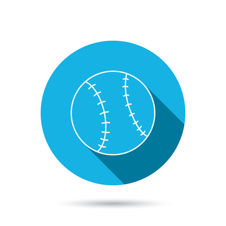 team game: Baseball equipment icon. Sport ball sign. Team game symbol. Blue flat circle button with shadow. Vector