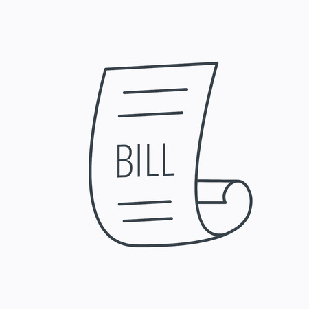 pay bill: Bill icon. Pay document sign. Business invoice or receipt symbol. Linear outline icon on white background. Vector