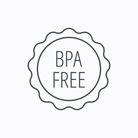 phthalates: BPA free icon. Bisphenol plastic sign. Linear outline icon on white background. Vector