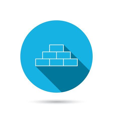 brickwork: Brickwork icon. Brick construction sign. Blue flat circle button with shadow. Vector