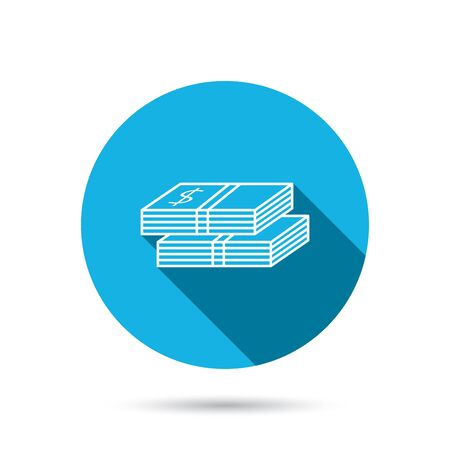wads: Cash icon. Dollar money sign. USD currency symbol. 2 wads of money. Blue flat circle button with shadow. Vector