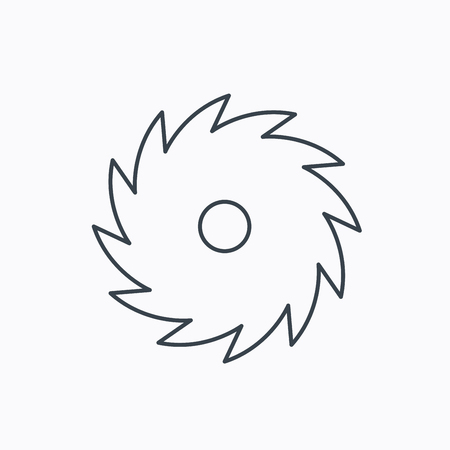 cutoff: Circular saw icon. Cutting disk sign. Woodworking sawblade symbol. Linear outline icon on white background. Vector Illustration