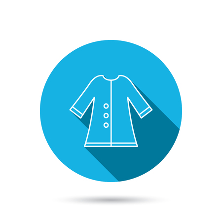 outerwear: Cloak icon. Protection jacket outerwear sign. Gardening clothes symbol. Blue flat circle button with shadow. Vector