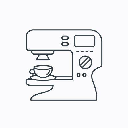 sign maker: Coffee maker icon. Hot drink machine sign. Linear outline icon on white background. Vector