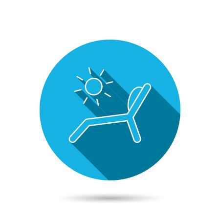 chaise longue: Deck chair icon. Beach chaise longue sign. Blue flat circle button with shadow. Vector