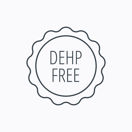 DEHP free icon. Non-toxic plastic sign. Linear outline icon on white background. Vector