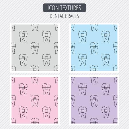 dental braces: Dental icono de llaves. Signo de la salud dental. S�mbolo de ortodoncia. Las l�neas diagonales textura. Modelos incons�tiles fijados. Vector Vectores