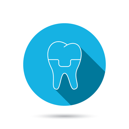 alumina: Dental crown icon. Tooth prosthesis sign. Blue flat circle button with shadow. Vector