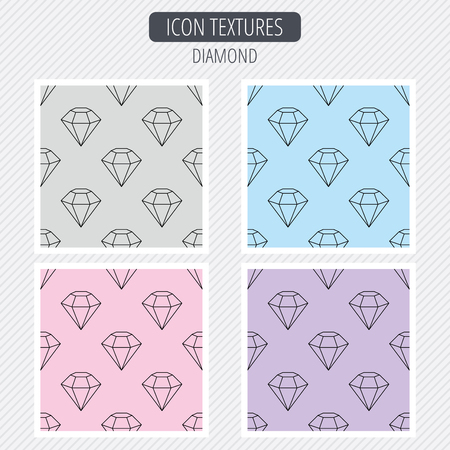 gemstone: Diamond icon. Brilliant gemstone sign. Diagonal lines texture. Seamless patterns set. Vector