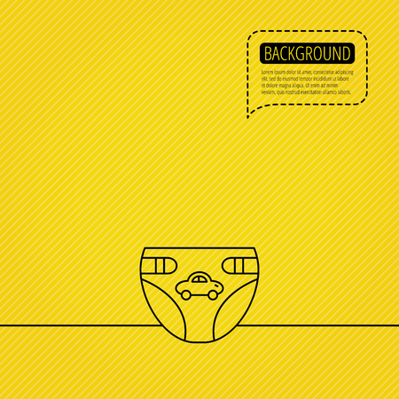 symbol yellow: Diaper with car icon. Child underwear sign. Newborn protection symbol. Speech bubble of dotted line. Orange background. Vector Illustration
