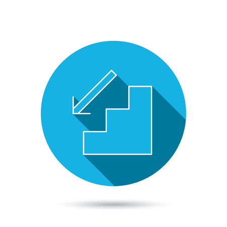 downstairs: Downstairs icon. Direction arrow sign. Blue flat circle button with shadow. Vector