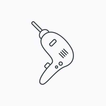 Boorhulpmiddel icoon. Elektrische jack-hammer teken. Lineaire overzicht pictogram op witte achtergrond. Vector