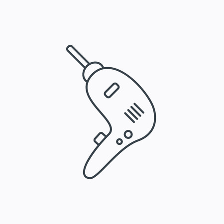 tinkering: Drill tool icon. Electric jack-hammer sign. Linear outline icon on white background. Vector