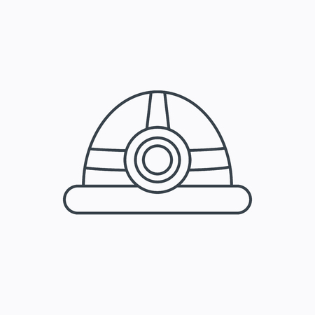 industrialist: Engineering icon. Engineer or worker helmet sign. Linear outline icon on white background. Vector