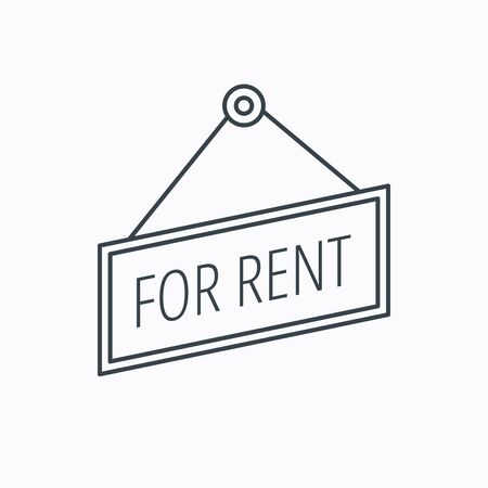 for rent: For rent icon. Advertising banner tag sign. Linear outline icon on white background. Vector Illustration