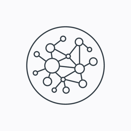 network connections: Global network icon. Social connections sign. Linear outline icon on white background. Vector
