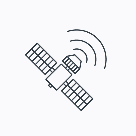 satellite navigation: GPS icon. Satellite navigation sign. Linear outline icon on white background. Vector Illustration
