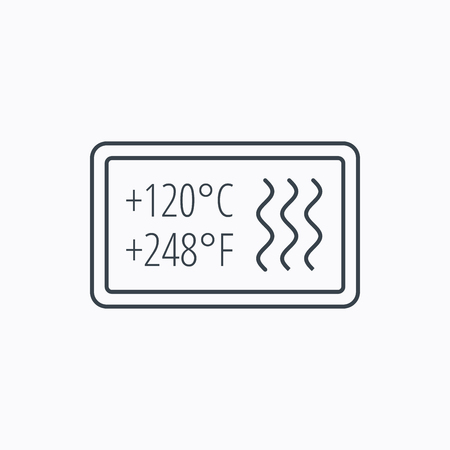 resistant: Heat resistant icon. Microwave or dishwasher information sign. Attention symbol. Linear outline icon on white background. Vector Illustration