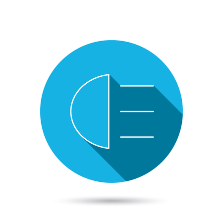 distant: High beams icon. Distant light car sign. Blue flat circle button with shadow. Vector Illustration