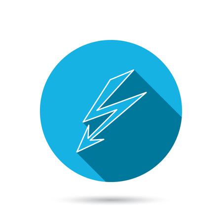lightening: Aligerar icono perno. Se�al de la fuente de alimentaci�n. S�mbolo de Electricidad. Bot�n azul c�rculo plano con la sombra. Vector