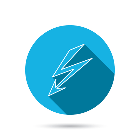 button icons: Lightening bolt icon. Power supply sign. Electricity symbol. Blue flat circle button with shadow. Vector