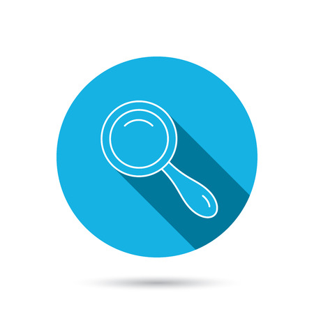 magnifying: Search icon. Magnifying glass sign. Zoom symbol. Blue flat circle button with shadow. Vector