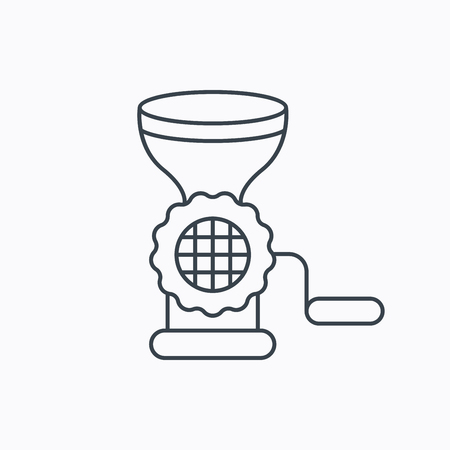 meat chopper: Meat grinder icon. Manual mincer sign. Kitchen tool symbol. Linear outline icon on white background. Vector Illustration