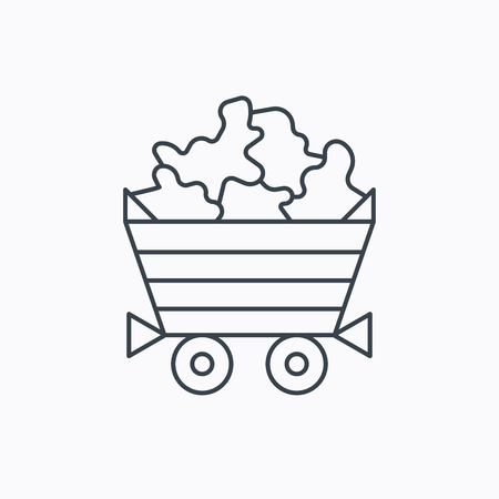 minerals: Minerals icon. Wheelbarrow with jewel gemstones sign. Linear outline icon on white background. Vector Illustration